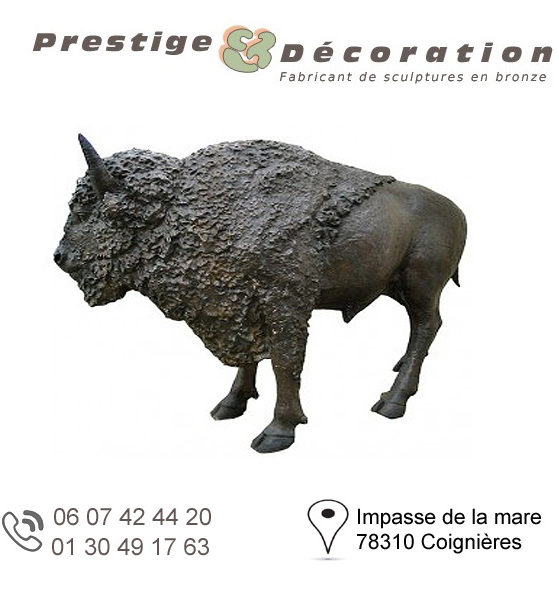 sculpture bronze bison