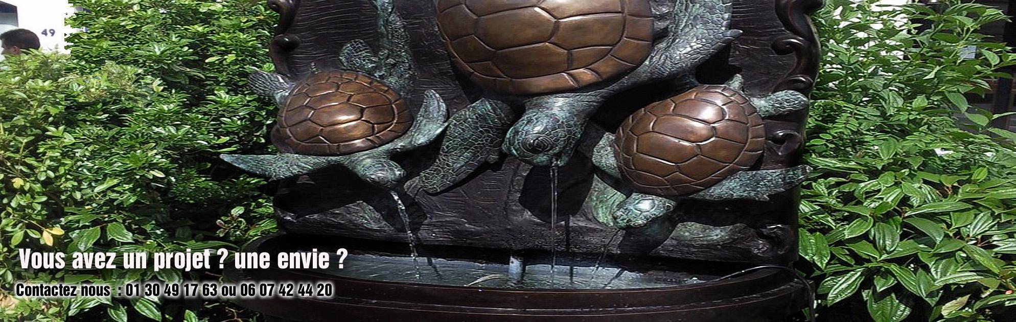 sculptures fontaine murale bronze