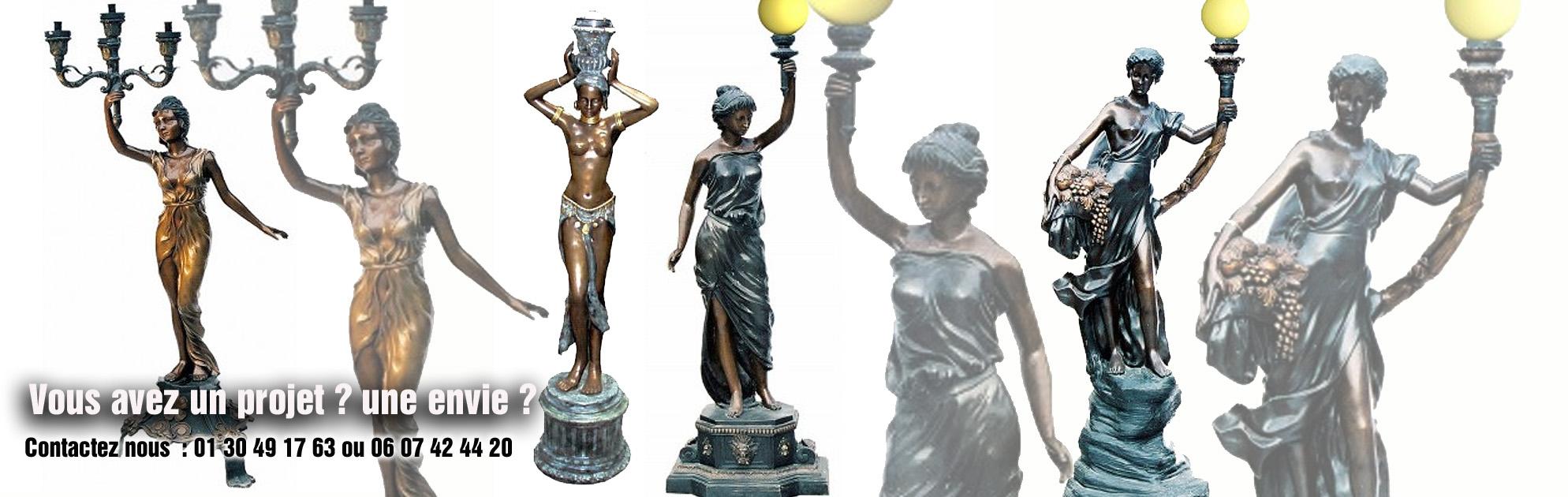 sculptures lampadaires bronze jardin